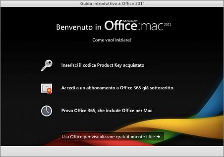 Screenshot della pagina di benvenuto per Office per Mac 2011