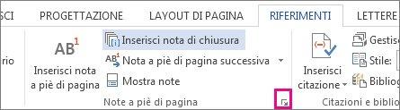 Aprire la casella di personalizzazione delle note a piè di pagina e di chiusura