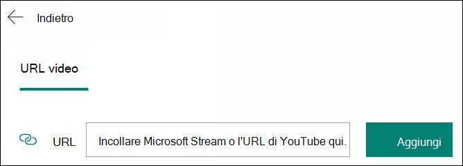 Aggiungere un video a una domanda di moduli per URL