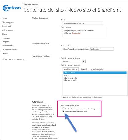 Nella pagina Nuovo sito di SharePoint scegliere l'opzione Autorizzazioni univoche.
