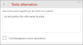 Finestra di dialogo testo alternativo per le immagini in PowerPoint per Windows Phone.