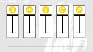 Grafici con dispositivi di scorrimento e icone in un modello di campionario per la grafica di PowerPoint