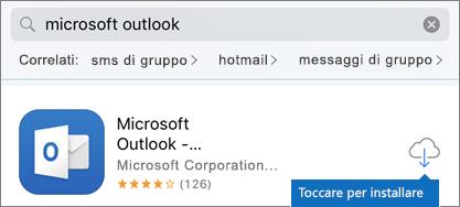 Toccare l'icona del cloud per installare Outlook