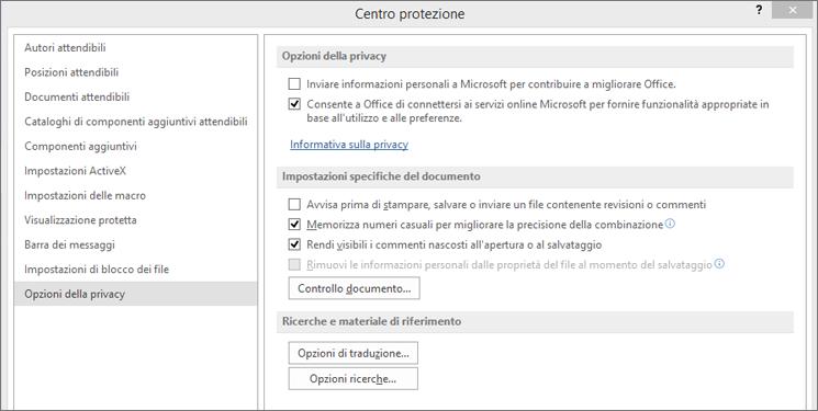 Opzioni sulla privacy in Centro protezione