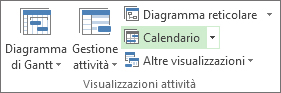 Scheda Visualizza, gruppo Visualizzazioni attività, pulsante Calendario.