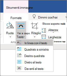 Opzioni per il testo a capo