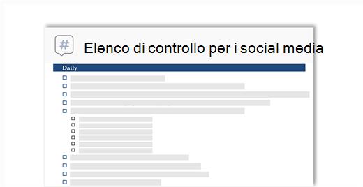 immagine concettuale di un elenco di controllo di social media