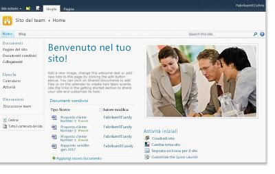Sito del team di SharePoint