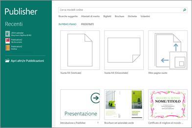 Screenshot dei modelli nella schermata Start di Publisher.