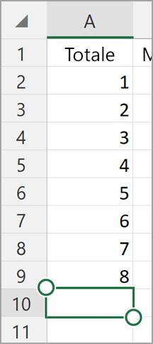 Somma automatica di Excel per tablet Windows