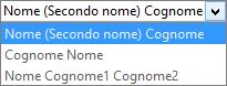 Opzioni di Outlook per Persone che mostrano le opzioni dell'elenco di ordinamento Nome.