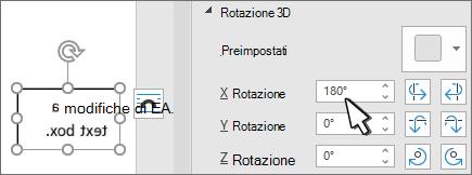 Casella di testo con rotazione 3D x 180 deg