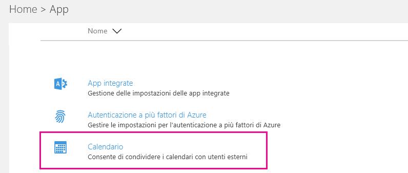 Nella pagina Servizi e componenti aggiuntivi fare clic su Calendario.