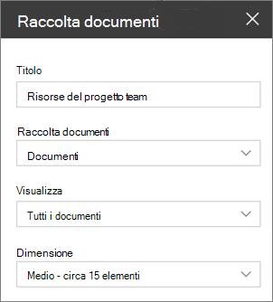 Impostazioni di web part della raccolta documenti