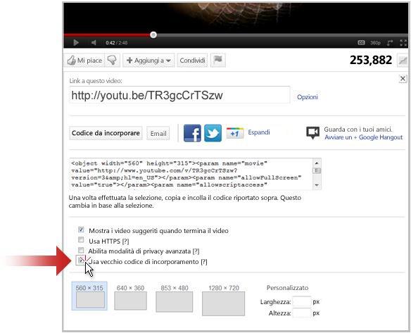 Creare un collegamento a un video caricato su YouTube