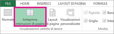 fare clic su anteprima interruzioni di pagina nella scheda visualizza