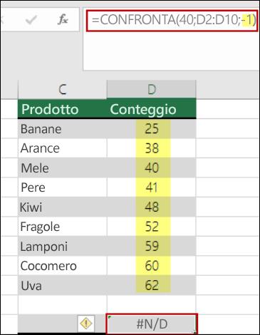 funzione Confronta di Excel