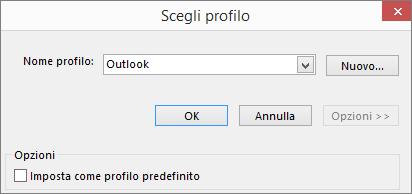Accettare l'impostazione predefinita di Outlook nella finestra di dialogo Scegli profilo