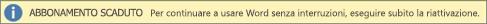 Mostra un esempio del banner Abbonamento scaduto con un pulsante Riattiva