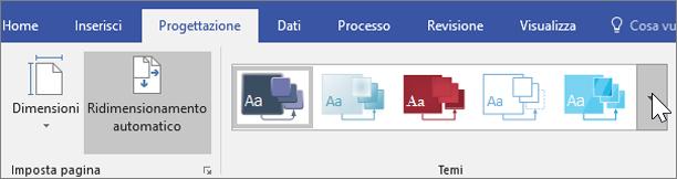 Schermata delle opzioni di Progettazione > Temi sulla barra degli strumenti