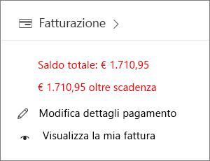 Widget Fatturazione nella home page dell'interfaccia di amministrazione che mostra un importo insoluto.