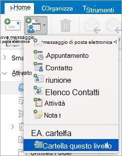 Mostra la selezione di una cartella a questo livello dall'elenco nuovi elementi.