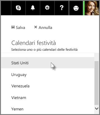 Aggiungere un calendario delle festività