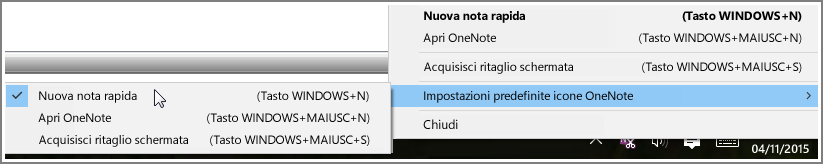 Screenshot dell'area di notifica con le opzioni di OneNote.