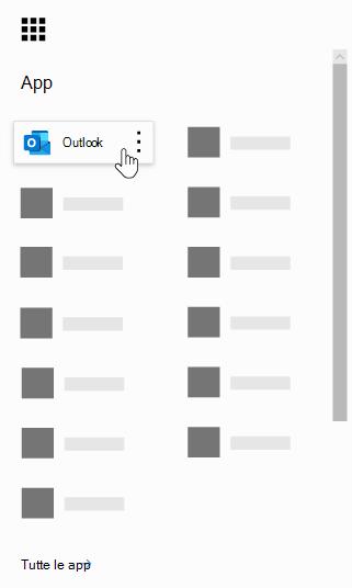 Icona di avvio delle app di Office 365 con l'app Outlook evidenziata