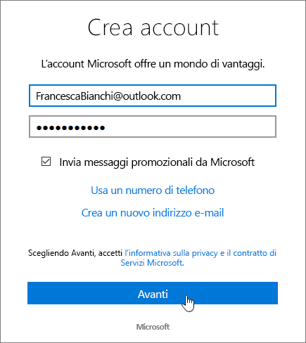 Screenshot della finestra di dialogo Crea un account Microsoft.
