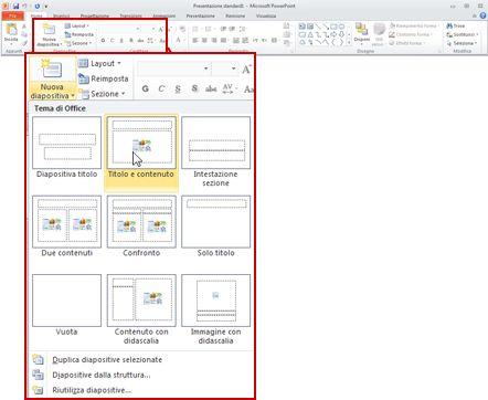 Scheda Home in PowerPoint 2010, visualizzazione del gruppo Diapositive.