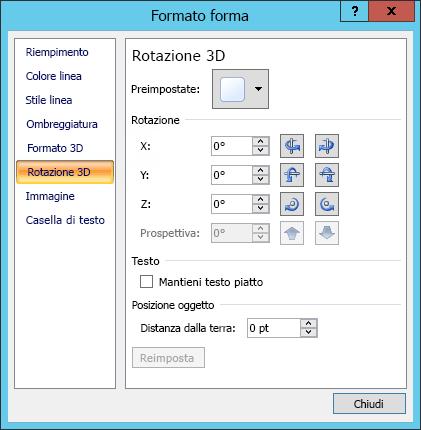 Opzioni di rotazione 3D nella finestra di dialogo Formato forma