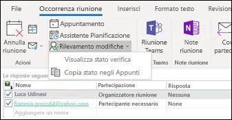 È possibile stampare un elenco dei partecipanti alla riunione e il relativo stato di risposta.