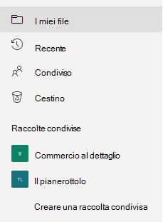 """Mostra il collegamento """"Crea raccolta condivisa"""" nella sezione """"Raccolte condivise""""."""