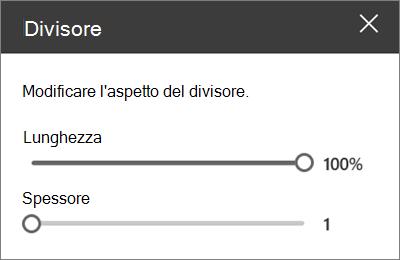 Riquadro dettagli Web part Divider in SharePoint Online durante la modifica di un sito