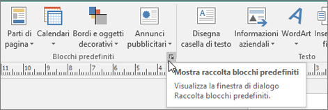 Blocchi predefiniti di Publisher