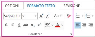 Barra multifunzione Formato testo