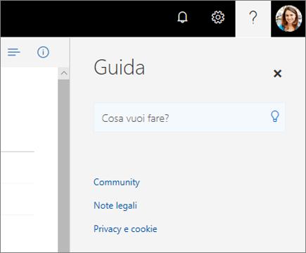 Screenshot del riquadro della Guida di OneDrive.