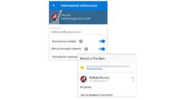Schermata Informazioni account con possibilità di bloccare il contenuto esterno