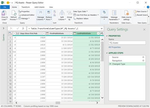 Editor di Power query che Visualizza i risultati