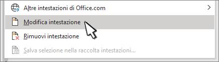 Modifica intestazione selezionata nella finestra di dialogo intestazione