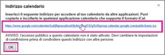 Google Calendar - casella Indirizzo calendario