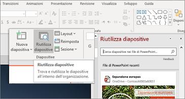Pulsante riUtilizzare le diapositive e riquadro aperto in PowerPoint