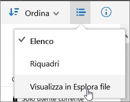 Voce del menu Apri con Esplora risorse evidenziata in OneDrive for Business