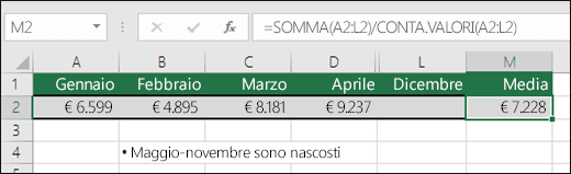 Uso di SOMMA con altre funzioni.  La formula nella cella M2 è =SOMMA(A2:L2)/CONTA.VALORI(A2:L2).  Nota: le colonne Maggio-Novembre sono nascoste per maggiore chiarezza.