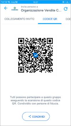 Screenshot della pagina del codice QR in Kaizala