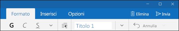 Scheda Formato nell'app Posta di Outlook