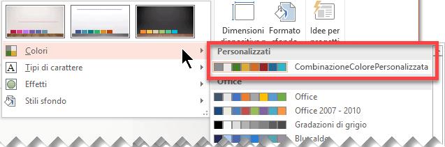 Dopo aver definito una combinazione di colori personalizzata, questa verrà visualizzata nel menu a discesa Colori