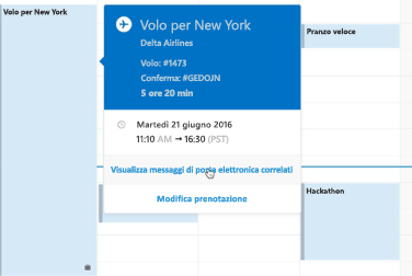 Scheda di riepilogo di un viaggio nel calendario di Outlook