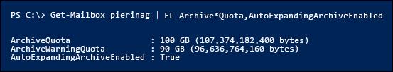 Le proprietà ArchiveQuota e ArchiveWarningQuota vengono ignorate dopo l'abilitazione dell'archiviazione a espansione automatica